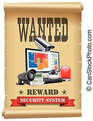 セキュリティー, -, システム, 令状, ポスター, 概念, 装置, 保護, カメラ, 阻止, 望まれる, dvr, ...