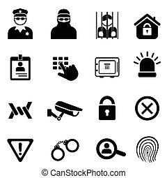セキュリティー, セット, 安全, アイコン