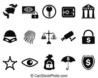 セキュリティー, セット, 銀行, アイコン