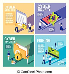 セキュリティー, セット, cyber, アイコン