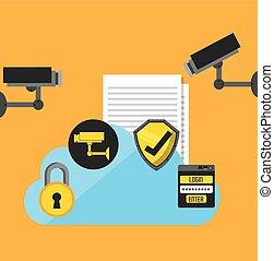 セキュリティー, デザイン, cyber