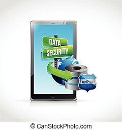 セキュリティー, データ, 保護, タブレット, サーバー