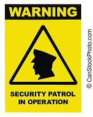 セキュリティー, パトロール, 中に, オペレーション, テキスト, 警告 印