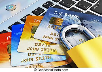 セキュリティー, モビール, 概念, 銀行業