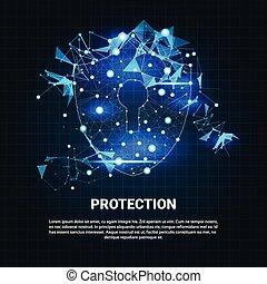 セキュリティー, 保護, 青, 多角形, 上に, 青い背景, ビジネス 概念, の, データ保護