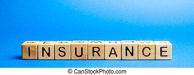 セキュリティー, 保護, insurance., property., 概念, 健康, 保険, 木製である, 生活, ブロック, 単語, ビジネス