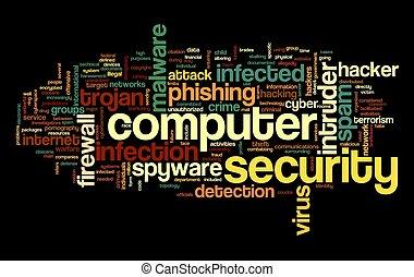 セキュリティー, 概念, タグ, 雲, コンピュータ