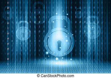 セキュリティー, 概念, デジタルバックグラウンド, インターネット