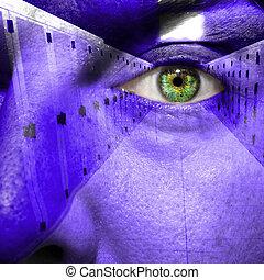 セキュリティー, 概念, 提示, データセンタ, 上に, a, 人, 顔
