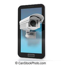 セキュリティー, 監視カメラ, 上に, タブレット, スクリーン, 隔離された, 白, 背景