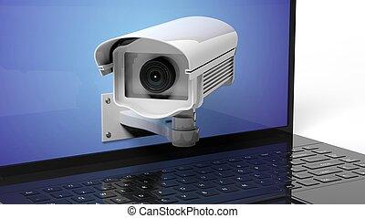 セキュリティー, 監視カメラ, 上に, ラップトップ, スクリーン, クローズアップ