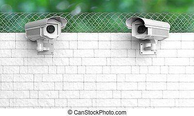 セキュリティー, 監視カメラ, 白, れんがの壁, ∥で∥, チェーンリンクのフェンス
