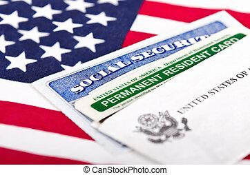 セキュリティー, 緑, カード, 社会
