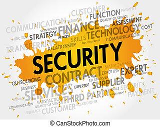 セキュリティー, 関係した, 項目, 言葉, 雲