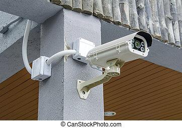 セキュリティー, cctv カメラ, そして, 都市, ビデオ