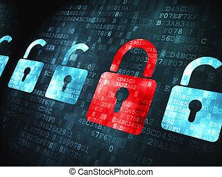 セキュリティー, concept:, 錠, 上に, デジタルバックグラウンド