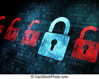 セキュリティー, concept:, 錠, 上に, デジタル, スクリーン