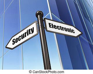セキュリティー, concept:, 電子, セキュリティー, 上に, 建物, 背景