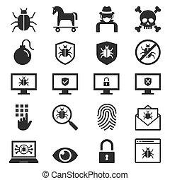 セキュリティー, set., 保護, アイコン, ベクトル, illustrations., コンピュータ,...