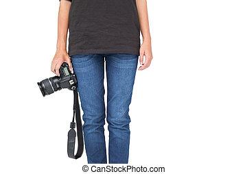 セクション, 中央の, 保有物のカメラ, 女