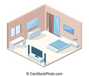セクション, 交差点, イラスト, ベクトル, 寝室, 内部