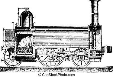 セクション, 経度である, engraving., 機関車, 型