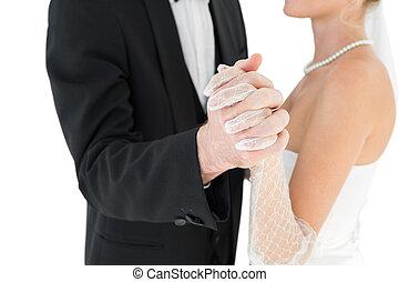 セクション, 花婿, 中央の, 花嫁, 手を持つ
