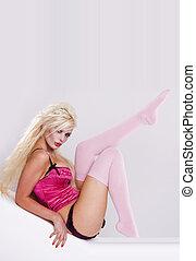 セクシー, ピンク, 女の子, 上に, 白