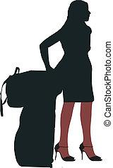 セクシー, 女の子, 待つこと, 手荷物
