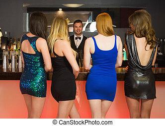 セクシー, 女性, 命令, 飲み物