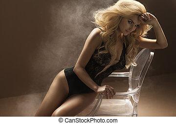 セクシー, 女, 身に着けていること, sensual, ランジェリー