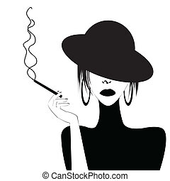 セクシー, 抽象的, 女, 喫煙, 肖像画