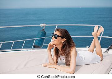 セクシー, 日没, 若い, ヨット, 彼女, 私用, 女