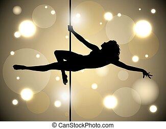 セクシー, 棒, 女性, ダンス