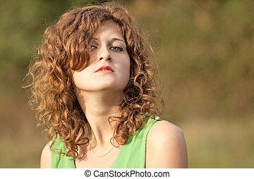 セクシー, 若い, 美しい, 赤い 髪, 女の子