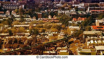 セクター, 都市, 航空写真, 外, 地下鉄, australia., シドニー, 光景