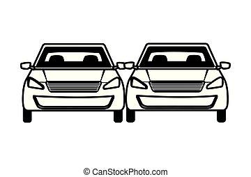 セダン, 自動車, 車, 漫画, 輸送