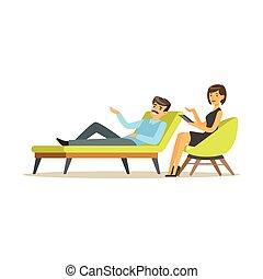 セッション, について, 患者, 問題, 特徴, イラスト, 話し, 心理学者, ベクトル, 女性, 精神療法, マレ,...