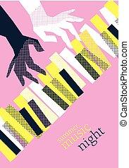 セッション, 網, コンサート, 概念, illustration., 夏, ポスター, 現代, ジャズ, ベクトル, 音楽, テンプレート, 印刷, デザイン, ピアノ, パーティー