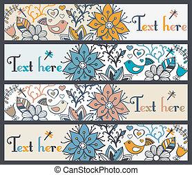 セット, ∥あるいは∥, 4, 旗, 横, 花, 流行, bookmarks, 旗