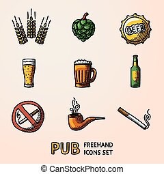セット, いいえ, 小麦, 印。, アイコン, -, びん, pub, ビール, ベクトル, タバコ, ガラス, ホツプ, handdrawn, 喫煙, 大袈裟な表情をしなさい, 蛇口, パイプ