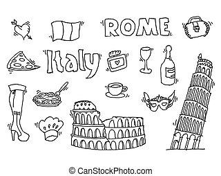 セット, いたずら書き, イタリア