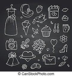セット, いたずら書き, イラスト, ベクトル, 黒, 黒板, 背景, 結婚式, 要素