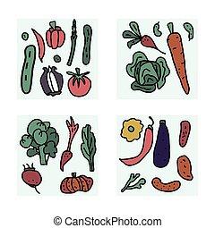 セット, いたずら書き, ベクトル, 野菜, composition.