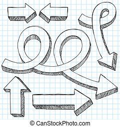セット, いたずら書き, 矢, sketchy, ベクトル, 3d