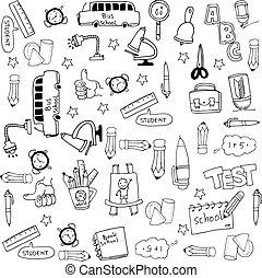 セット, いたずら書き, schoole, コレクション, 道具, 株