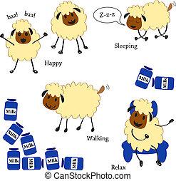 セット, いたずら書き, sheep