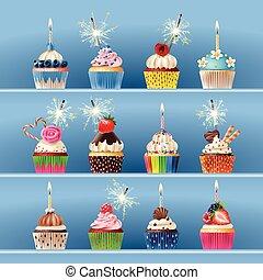 セット, おいしい, cupcake