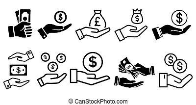 セット, お金, アイコン, 手を持つ, 単純である, ベクトル