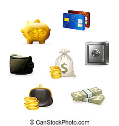 セット, お金, ベクトル, アイコン